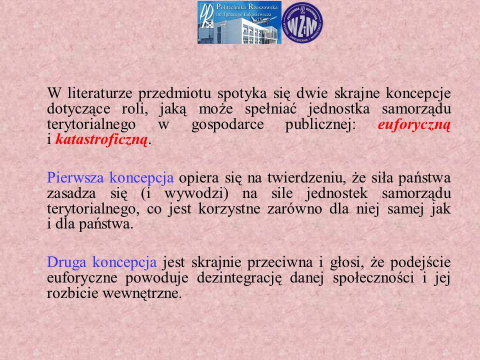 W literaturze przedmiotu spotyka się dwie skrajne koncepcje dotyczące roli, jaką może spełniać jednostka samorządu terytorialnego w gospodarce publicz