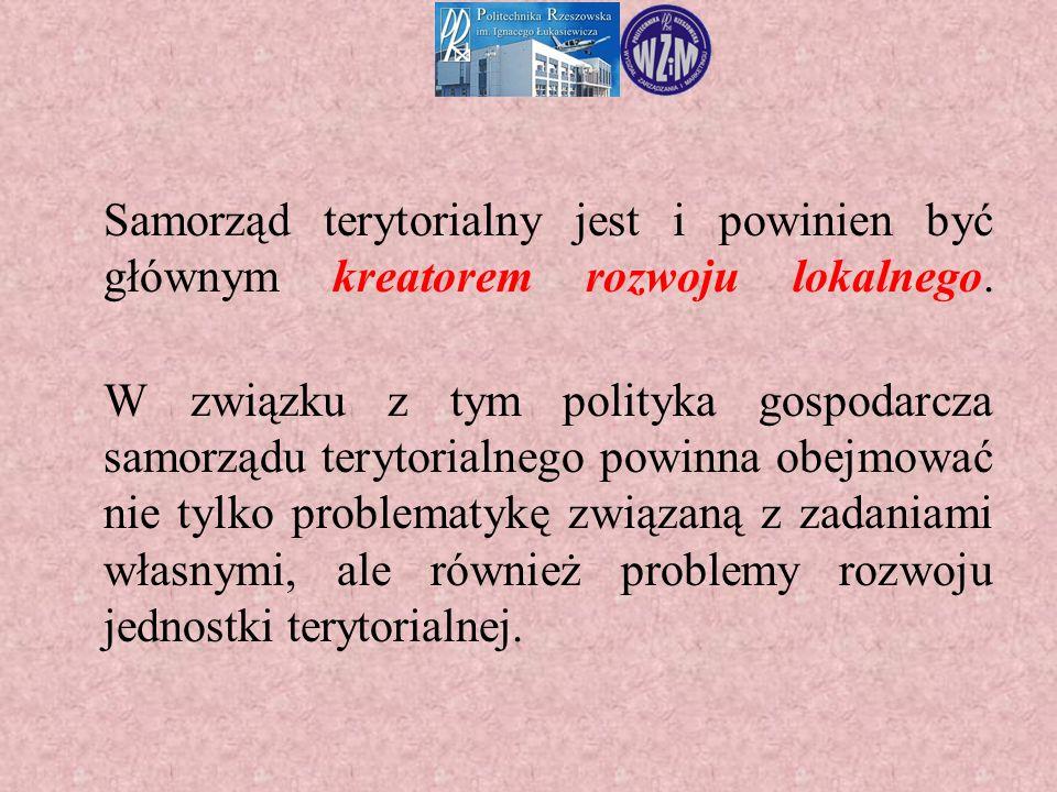 Samorząd terytorialny jest i powinien być głównym kreatorem rozwoju lokalnego. W związku z tym polityka gospodarcza samorządu terytorialnego powinna o