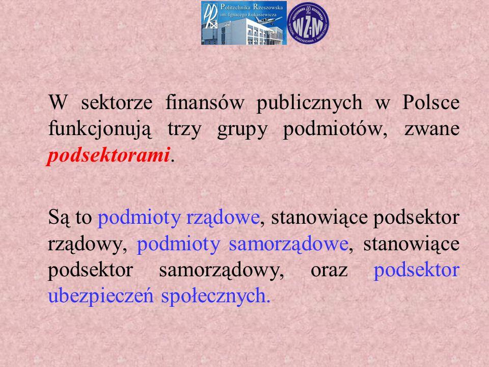 W sektorze finansów publicznych w Polsce funkcjonują trzy grupy podmiotów, zwane podsektorami. Są to podmioty rządowe, stanowiące podsektor rządowy, p