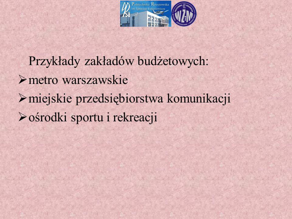 Przykłady zakładów budżetowych:  metro warszawskie  miejskie przedsiębiorstwa komunikacji  ośrodki sportu i rekreacji