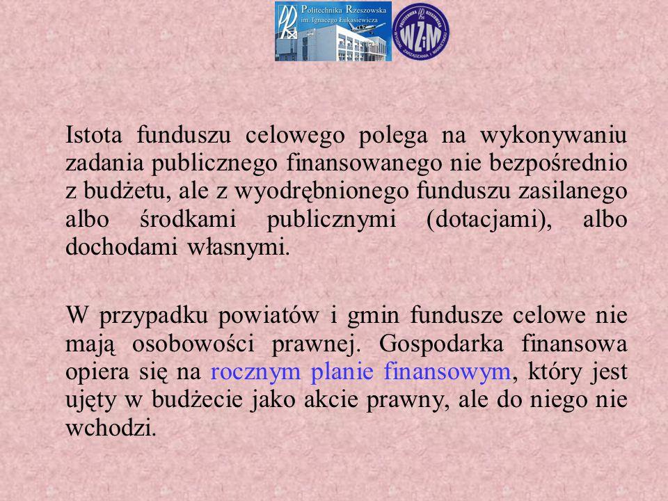 Istota funduszu celowego polega na wykonywaniu zadania publicznego finansowanego nie bezpośrednio z budżetu, ale z wyodrębnionego funduszu zasilanego albo środkami publicznymi (dotacjami), albo dochodami własnymi.
