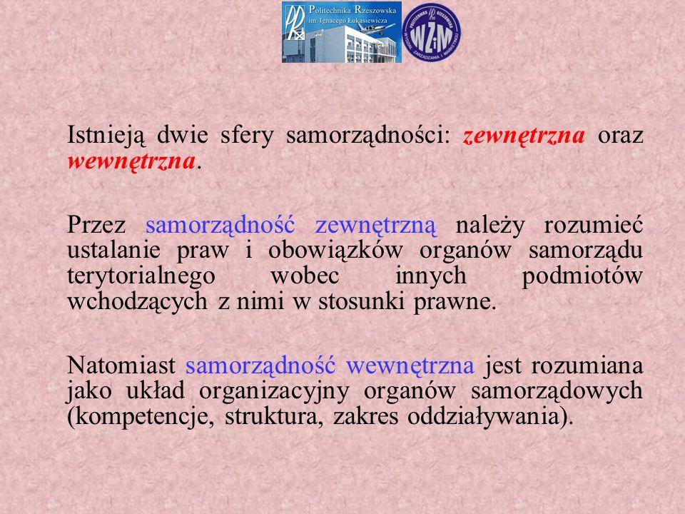 Istnieją dwie sfery samorządności: zewnętrzna oraz wewnętrzna. Przez samorządność zewnętrzną należy rozumieć ustalanie praw i obowiązków organów samor