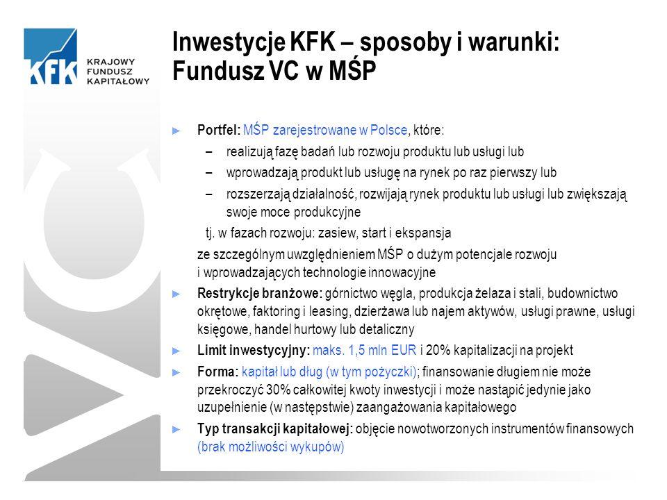 ► Portfel: MŚP zarejestrowane w Polsce, które: –realizują fazę badań lub rozwoju produktu lub usługi lub –wprowadzają produkt lub usługę na rynek po raz pierwszy lub –rozszerzają działalność, rozwijają rynek produktu lub usługi lub zwiększają swoje moce produkcyjne tj.