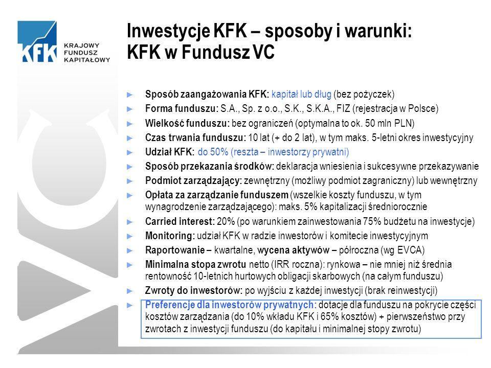 ► Sposób zaangażowania KFK: kapitał lub dług (bez pożyczek) ► Forma funduszu: S.A., Sp.