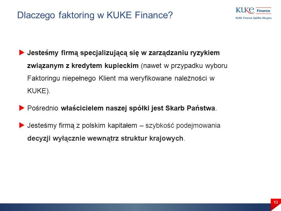  Jesteśmy firmą specjalizującą się w zarządzaniu ryzykiem związanym z kredytem kupieckim (nawet w przypadku wyboru Faktoringu niepełnego Klient ma weryfikowane należności w KUKE).