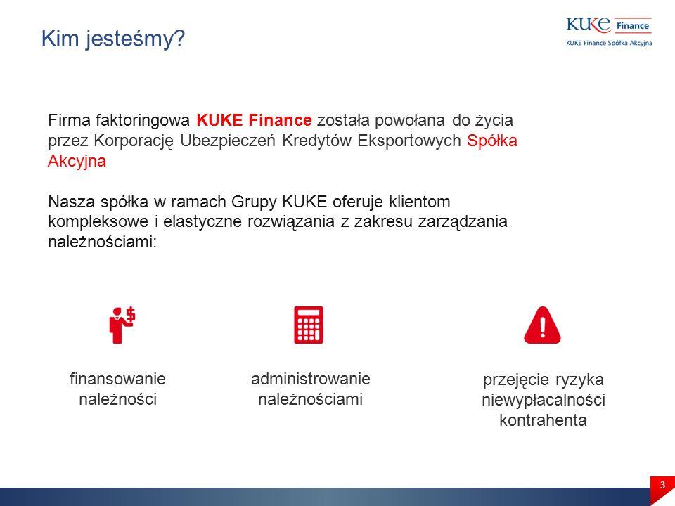 3 Firma faktoringowa KUKE Finance została powołana do życia przez Korporację Ubezpieczeń Kredytów Eksportowych Spółka Akcyjna Nasza spółka w ramach Grupy KUKE oferuje klientom kompleksowe i elastyczne rozwiązania z zakresu zarządzania należnościami: Kim jesteśmy.