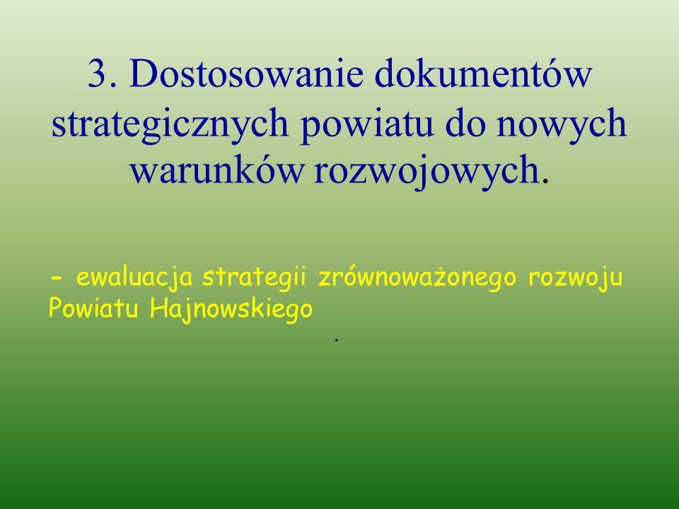 3. Dostosowanie dokumentów strategicznych powiatu do nowych warunków rozwojowych.