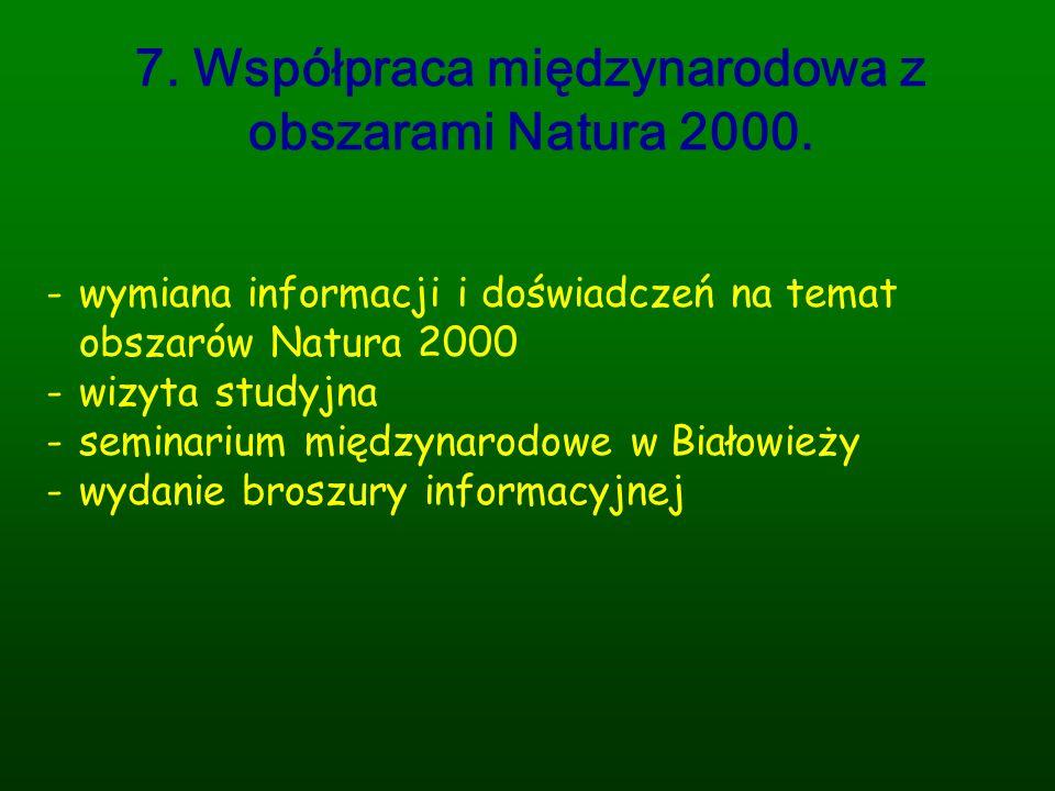 7. Współpraca międzynarodowa z obszarami Natura 2000.