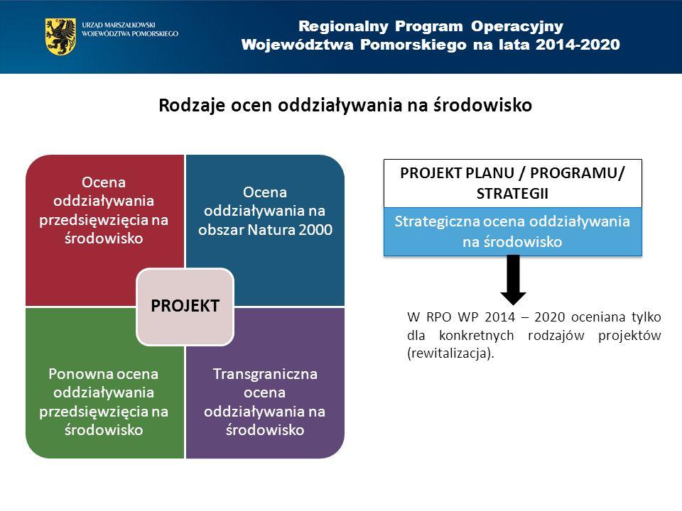 Regionalny Program Operacyjny Województwa Pomorskiego na lata 2014-2020 Zakres weryfikacji dokumentów z procedury ooś we wnioskach RPO WP 2014 - 2020 1.