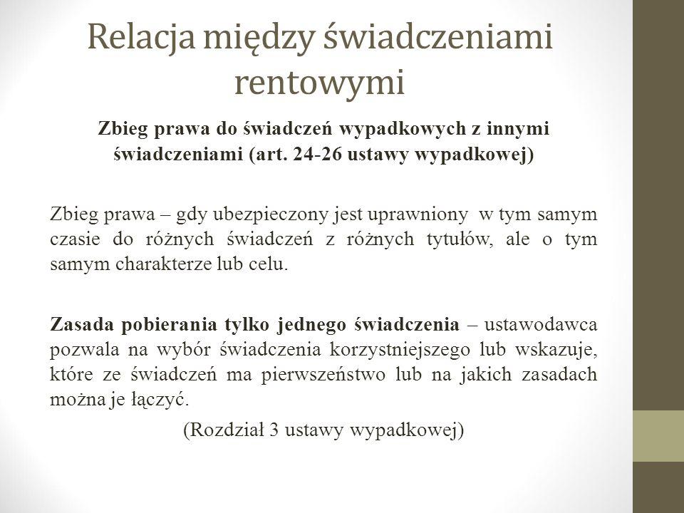 Relacja między świadczeniami rentowymi Zbieg prawa do świadczeń wypadkowych z innymi świadczeniami (art. 24-26 ustawy wypadkowej) Zbieg prawa – gdy ub