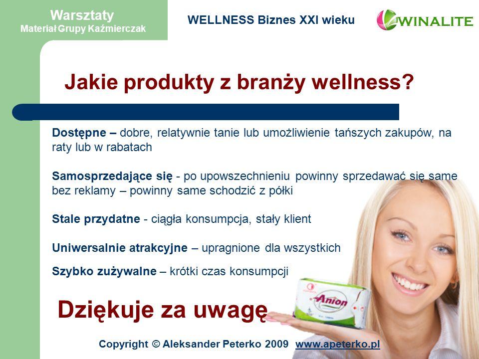 Jakie produkty z branży wellness.