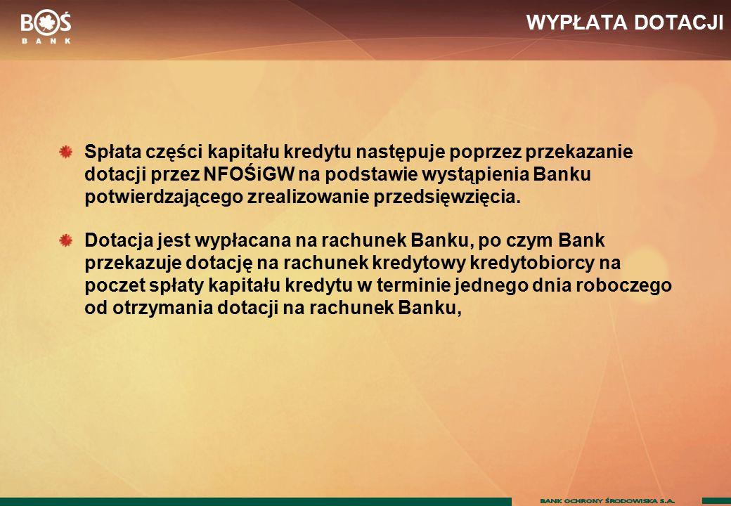 WYPŁATA DOTACJI Spłata części kapitału kredytu następuje poprzez przekazanie dotacji przez NFOŚiGW na podstawie wystąpienia Banku potwierdzającego zrealizowanie przedsięwzięcia.