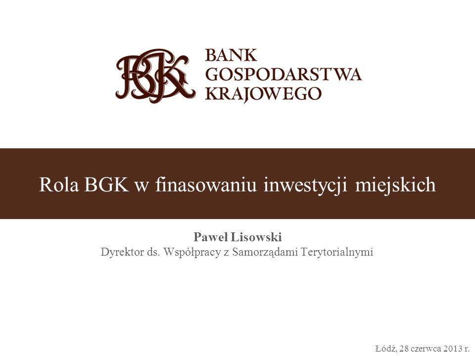 O banku 2 Oddziały 16 oddziałów (1 na województwo) Liczba zatrudnionych 1289 Suma Bilansowa (31.12.2012) 48,6 mld PLN * Wynik netto (31.12.2012) 461 mln PLN * * przed audytem  BGK założony w 1924 roku to jedyny w Polsce bank państwowy.