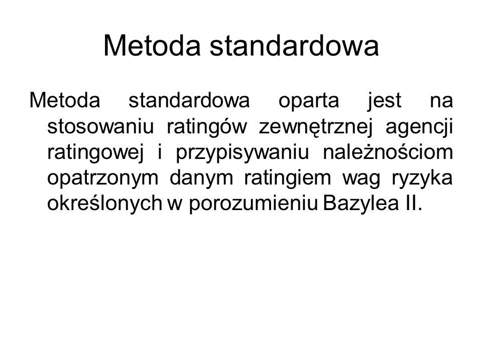 Metoda standardowa Metoda standardowa oparta jest na stosowaniu ratingów zewnętrznej agencji ratingowej i przypisywaniu należnościom opatrzonym danym ratingiem wag ryzyka określonych w porozumieniu Bazylea II.