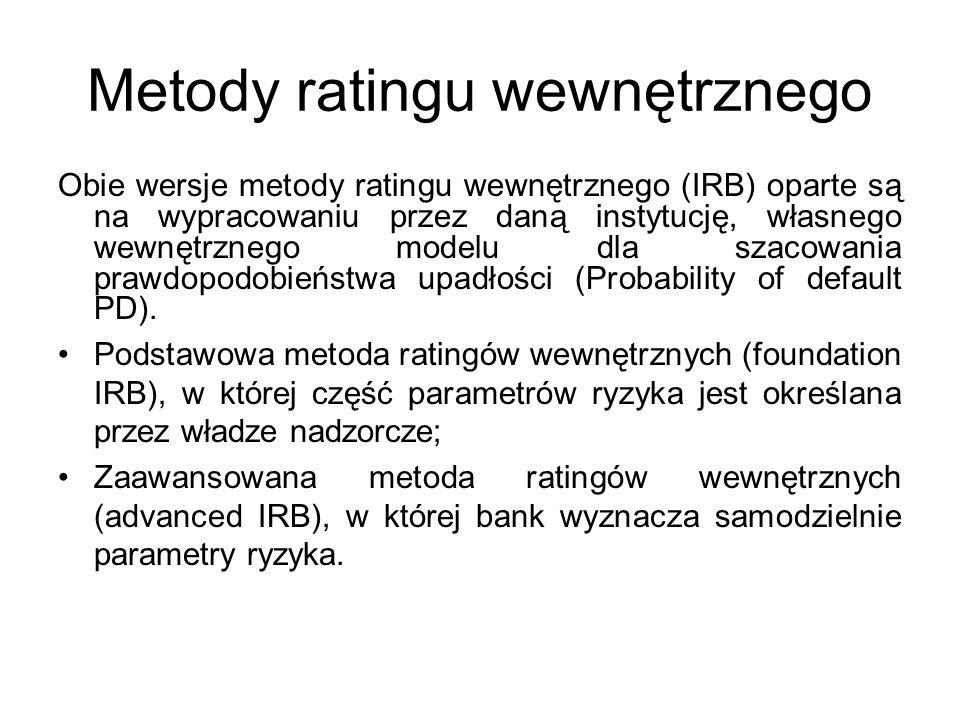 Metody ratingu wewnętrznego Obie wersje metody ratingu wewnętrznego (IRB) oparte są na wypracowaniu przez daną instytucję, własnego wewnętrznego modelu dla szacowania prawdopodobieństwa upadłości (Probability of default PD).
