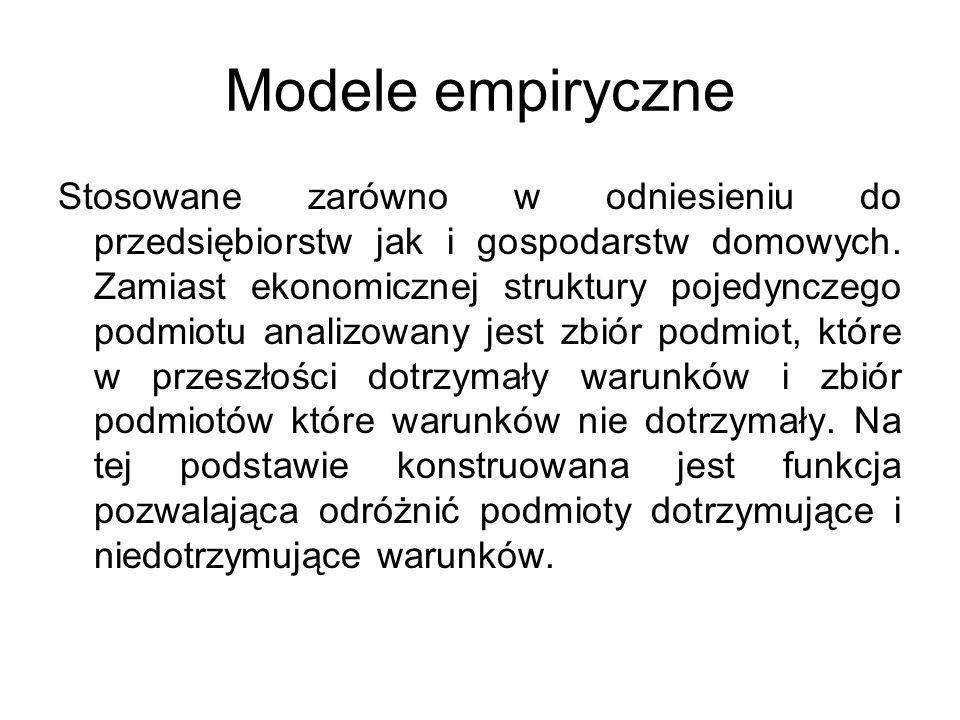 Modele empiryczne Stosowane zarówno w odniesieniu do przedsiębiorstw jak i gospodarstw domowych. Zamiast ekonomicznej struktury pojedynczego podmiotu