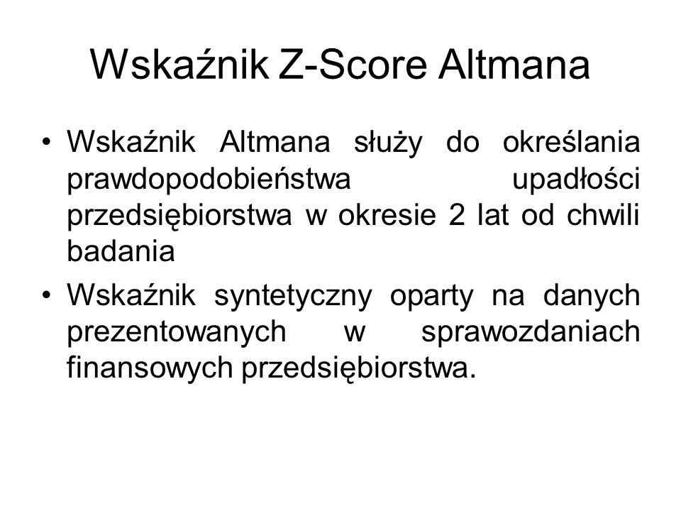 Wskaźnik Z-Score Altmana Wskaźnik Altmana służy do określania prawdopodobieństwa upadłości przedsiębiorstwa w okresie 2 lat od chwili badania Wskaźnik syntetyczny oparty na danych prezentowanych w sprawozdaniach finansowych przedsiębiorstwa.