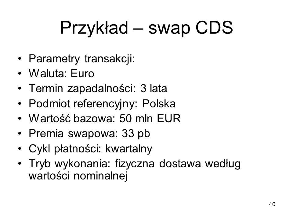 40 Przykład – swap CDS Parametry transakcji: Waluta: Euro Termin zapadalności: 3 lata Podmiot referencyjny: Polska Wartość bazowa: 50 mln EUR Premia s