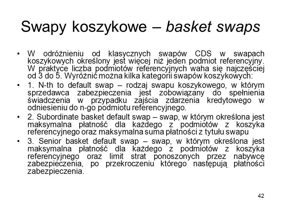 42 Swapy koszykowe – basket swaps W odróżnieniu od klasycznych swapów CDS w swapach koszykowych określony jest więcej niż jeden podmiot referencyjny.