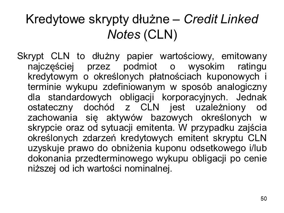 50 Kredytowe skrypty dłużne – Credit Linked Notes (CLN) Skrypt CLN to dłużny papier wartościowy, emitowany najczęściej przez podmiot o wysokim ratingu kredytowym o określonych płatnościach kuponowych i terminie wykupu zdefiniowanym w sposób analogiczny dla standardowych obligacji korporacyjnych.