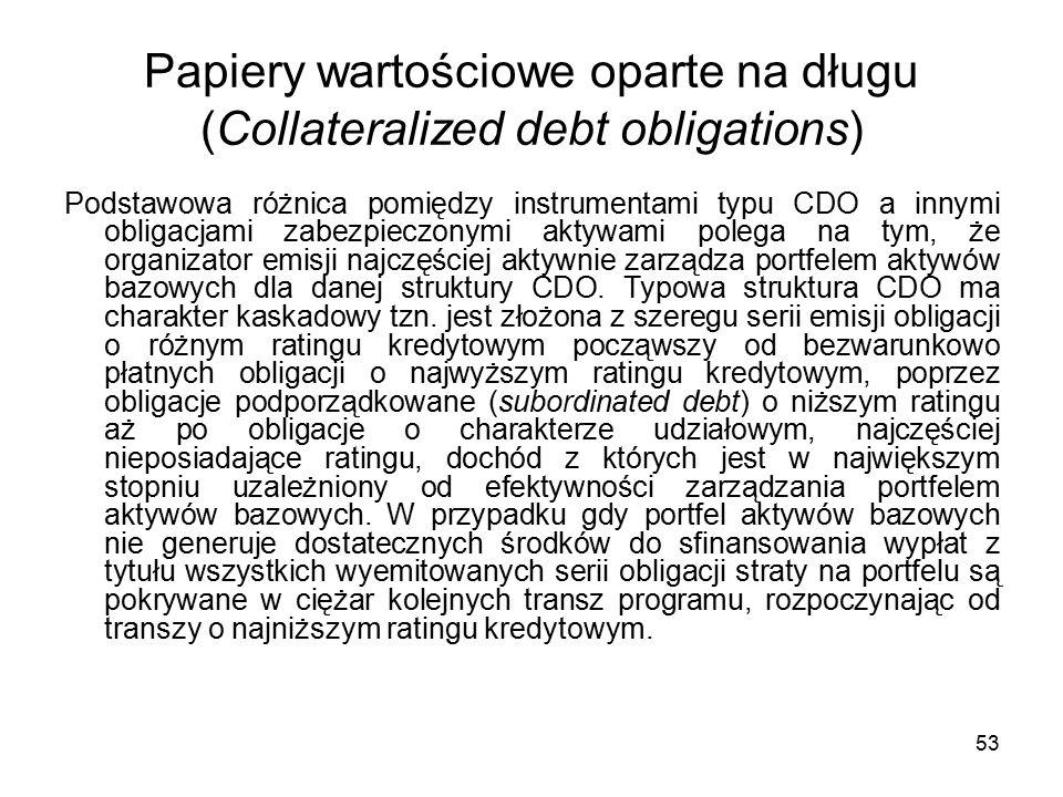 53 Papiery wartościowe oparte na długu (Collateralized debt obligations) Podstawowa różnica pomiędzy instrumentami typu CDO a innymi obligacjami zabezpieczonymi aktywami polega na tym, że organizator emisji najczęściej aktywnie zarządza portfelem aktywów bazowych dla danej struktury CDO.