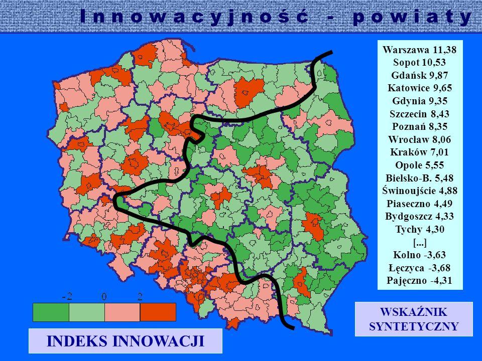 Warszawa 11,38 Sopot 10,53 Gdańsk 9,87 Katowice 9,65 Gdynia 9,35 Szczecin 8,43 Poznań 8,35 Wrocław 8,06 Kraków 7,01 Opole 5,55 Bielsko-B.