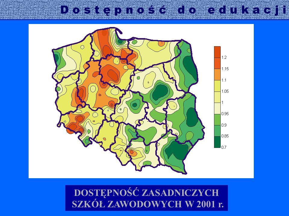DOSTĘPNOŚĆ ZASADNICZYCH SZKÓŁ ZAWODOWYCH W 2001 r.