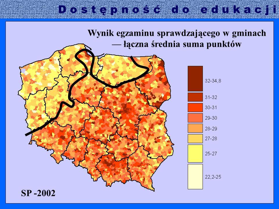SP -2002 Wynik egzaminu sprawdzającego w gminach — łączna średnia suma punktów