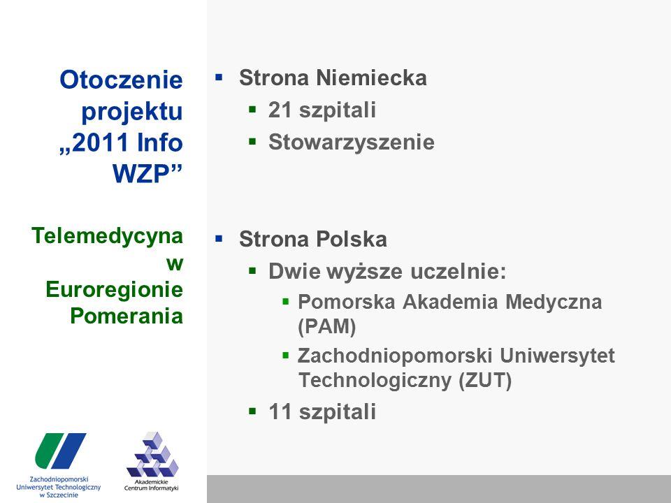 """Otoczenie projektu """"2011 Info WZP  Strona Niemiecka  21 szpitali  Stowarzyszenie  Strona Polska  Dwie wyższe uczelnie:  Pomorska Akademia Medyczna (PAM)  Zachodniopomorski Uniwersytet Technologiczny (ZUT)  11 szpitali Telemedycyna w Euroregionie Pomerania"""