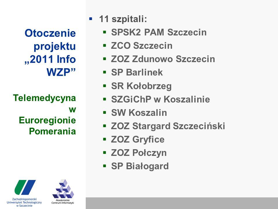 """Otoczenie projektu """"2011 Info WZP  11 szpitali:  SPSK2 PAM Szczecin  ZCO Szczecin  ZOZ Zdunowo Szczecin  SP Barlinek  SR Kołobrzeg  SZGiChP w Koszalinie  SW Koszalin  ZOZ Stargard Szczeciński  ZOZ Gryfice  ZOZ Połczyn  SP Białogard Telemedycyna w Euroregionie Pomerania"""