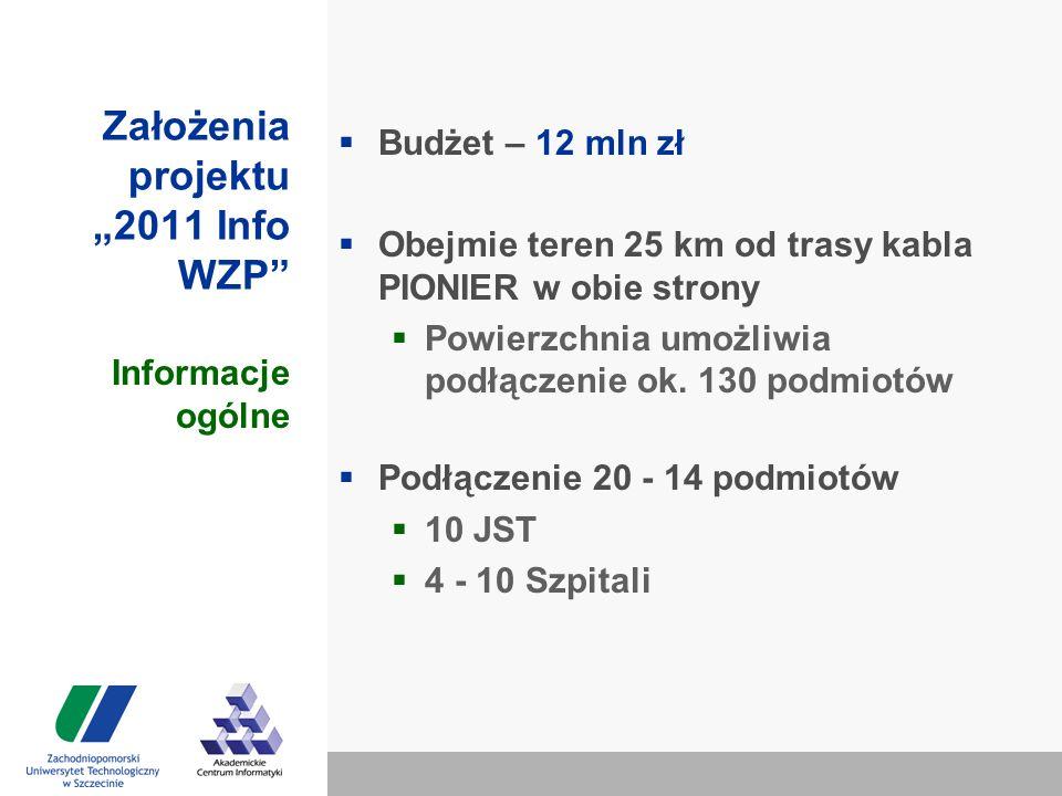 """Założenia projektu """"2011 Info WZP  Budżet – 12 mln zł  Obejmie teren 25 km od trasy kabla PIONIER w obie strony  Powierzchnia umożliwia podłączenie ok."""