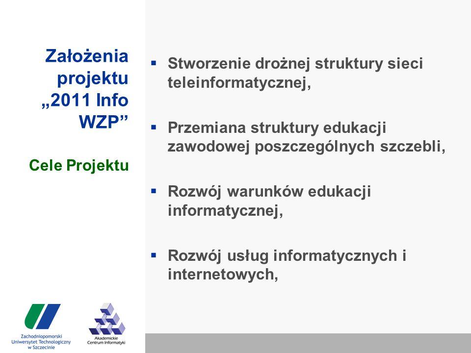 """Założenia projektu """"2011 Info WZP  Stworzenie drożnej struktury sieci teleinformatycznej,  Przemiana struktury edukacji zawodowej poszczególnych szczebli,  Rozwój warunków edukacji informatycznej,  Rozwój usług informatycznych i internetowych, Cele Projektu"""