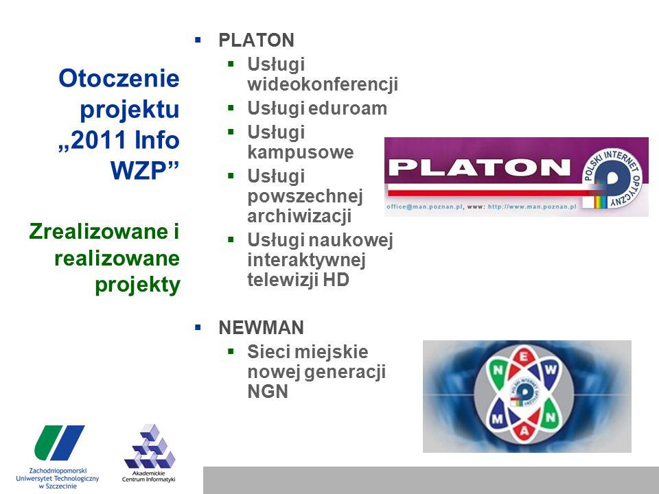 """Otoczenie projektu """"2011 Info WZP  PLATON  Usługi wideokonferencji  Usługi eduroam  Usługi kampusowe  Usługi powszechnej archiwizacji  Usługi naukowej interaktywnej telewizji HD  NEWMAN  Sieci miejskie nowej generacji NGN Zrealizowane i realizowane projekty"""