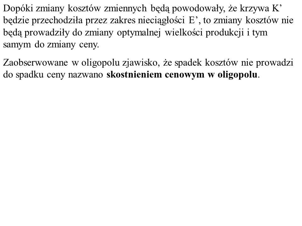 pipi yiyi Hipotetyczny przebieg funkcji cena-zbyt A pApA yAyA Realny przebieg funkcji cena-zbyt E' Zakres nieciągłości E' K1'K1'K2'K2'K3'K3'