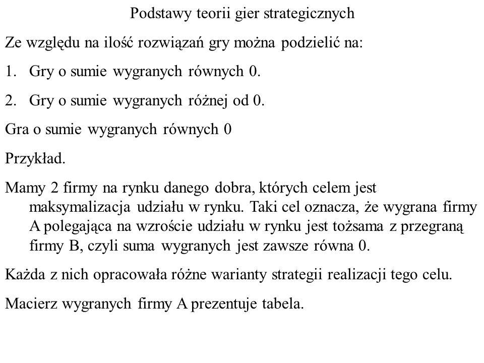 Podstawy teorii gier strategicznych Ze względu na ilość rozwiązań gry można podzielić na: 1.Gry o sumie wygranych równych 0.