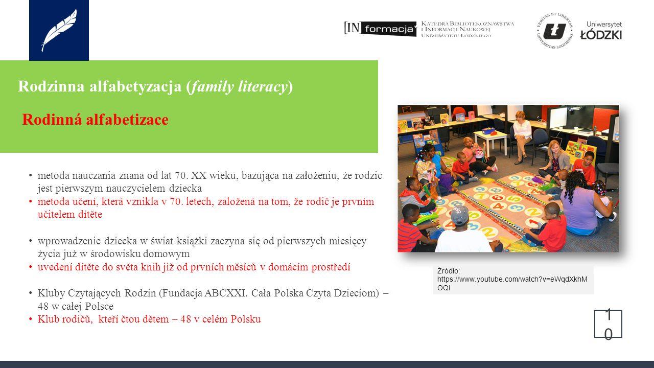 Rodzinna alfabetyzacja (family literacy) Rodinná alfabetizace 10 metoda nauczania znana od lat 70.