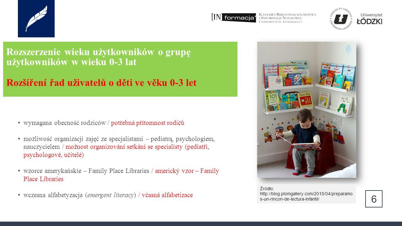 Rozszerzenie wieku użytkowników o grupę użytkowników w wieku 0-3 lat Rozšíření řad uživatelů o děti ve věku 0-3 let 6 wymagana obecność rodziców / potřebná přítomnost rodičů możliwość organizacji zajęć ze specjalistami – pediatrą, psychologiem, nauczycielem / možnost organizování setkání se specialisty (pediatři, psychologové, učitelé) wzorce amerykańskie – Family Place Libraries / americký vzor – Family Place Libraries wczesna alfabetyzacja (emergent literacy) / včasná alfabetizace Źródło: http://blog.plomgallery.com/2015/04/preparamo s-un-rincon-de-lectura-infantil/