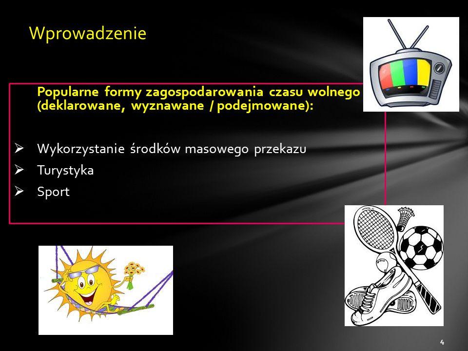 Popularne formy zagospodarowania czasu wolnego (deklarowane, wyznawane / podejmowane):  Wykorzystanie środków masowego przekazu  Turystyka  Sport 4