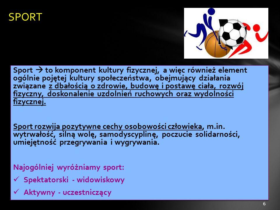 Sport  to komponent kultury fizycznej, a więc również element ogólnie pojętej kultury społeczeństwa, obejmujący działania związane z dbałością o zdro