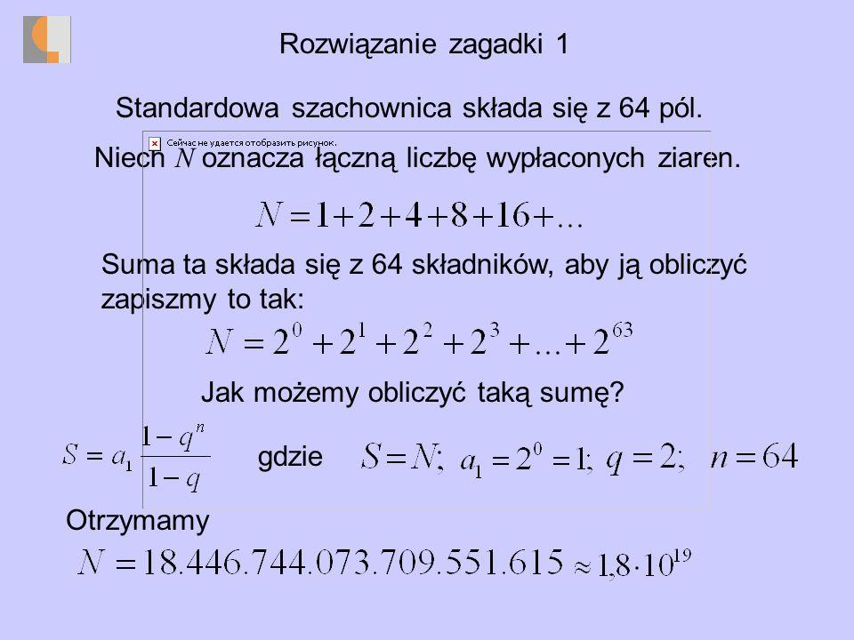 Rozwiązanie zagadki 1 Standardowa szachownica składa się z 64 pól.