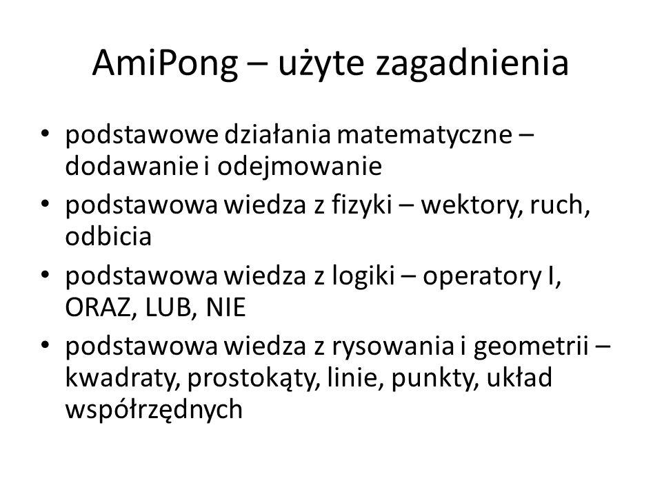 AmiPong – użyte zagadnienia podstawowe działania matematyczne – dodawanie i odejmowanie podstawowa wiedza z fizyki – wektory, ruch, odbicia podstawowa wiedza z logiki – operatory I, ORAZ, LUB, NIE podstawowa wiedza z rysowania i geometrii – kwadraty, prostokąty, linie, punkty, układ współrzędnych