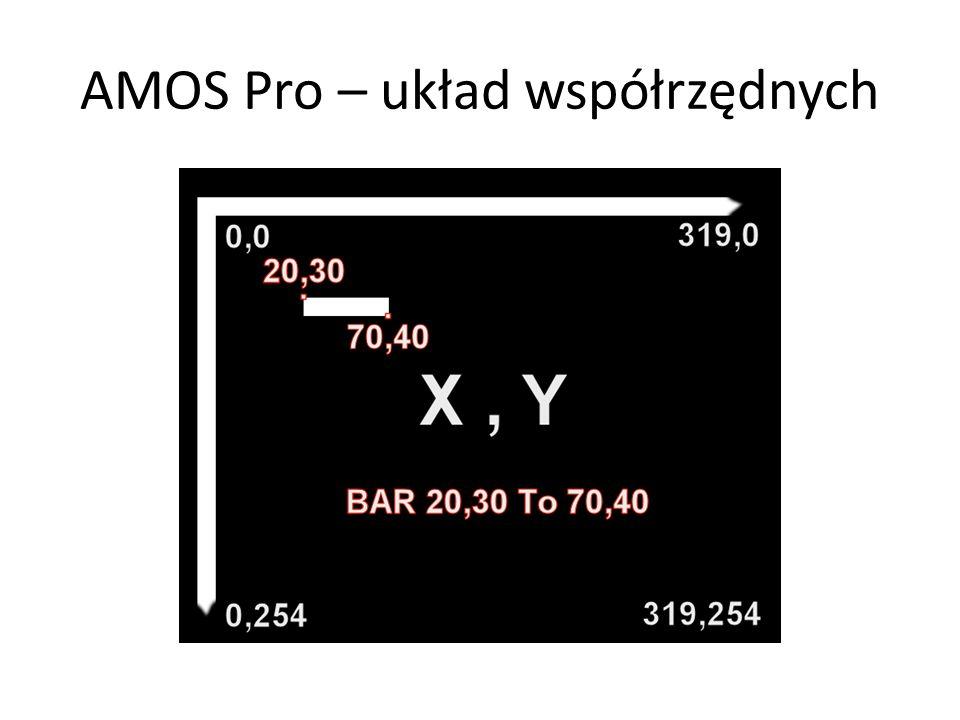 AMOS Pro – układ współrzędnych
