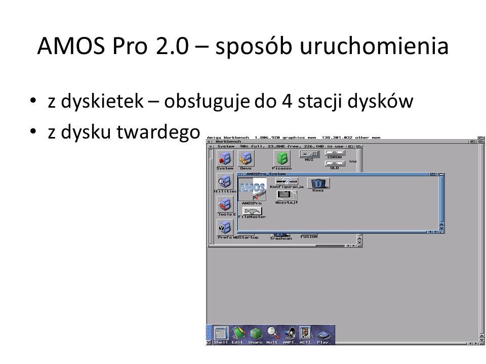 AMOS Pro 2.0 – sposób uruchomienia z dyskietek – obsługuje do 4 stacji dysków z dysku twardego