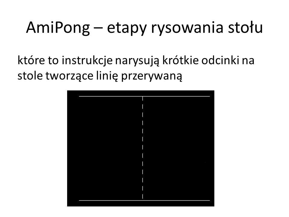 AmiPong – etapy rysowania stołu które to instrukcje narysują krótkie odcinki na stole tworzące linię przerywaną