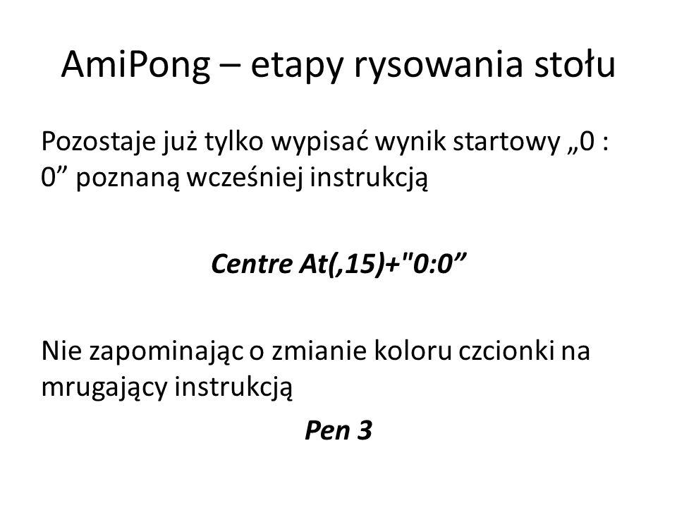 """AmiPong – etapy rysowania stołu Pozostaje już tylko wypisać wynik startowy """"0 : 0 poznaną wcześniej instrukcją Centre At(,15)+ 0:0 Nie zapominając o zmianie koloru czcionki na mrugający instrukcją Pen 3"""