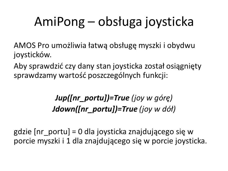 AmiPong – obsługa joysticka AMOS Pro umożliwia łatwą obsługę myszki i obydwu joysticków. Aby sprawdzić czy dany stan joysticka został osiągnięty spraw