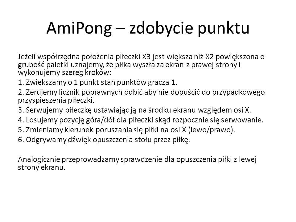 AmiPong – zdobycie punktu Jeżeli współrzędna położenia piłeczki X3 jest większa niż X2 powiększona o grubość paletki uznajemy, że piłka wyszła za ekra