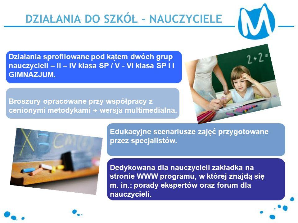 Działania sprofilowane pod kątem dwóch grup nauczycieli – II – IV klasa SP / V - VI klasa SP i I GIMNAZJUM.
