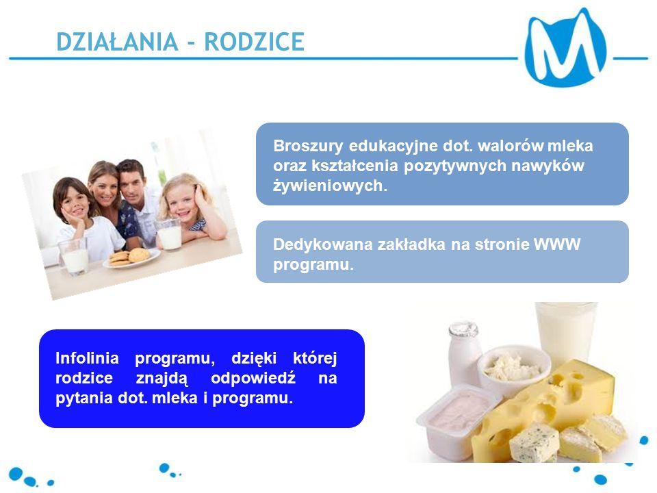 Broszury edukacyjne dot. walorów mleka oraz kształcenia pozytywnych nawyków żywieniowych.
