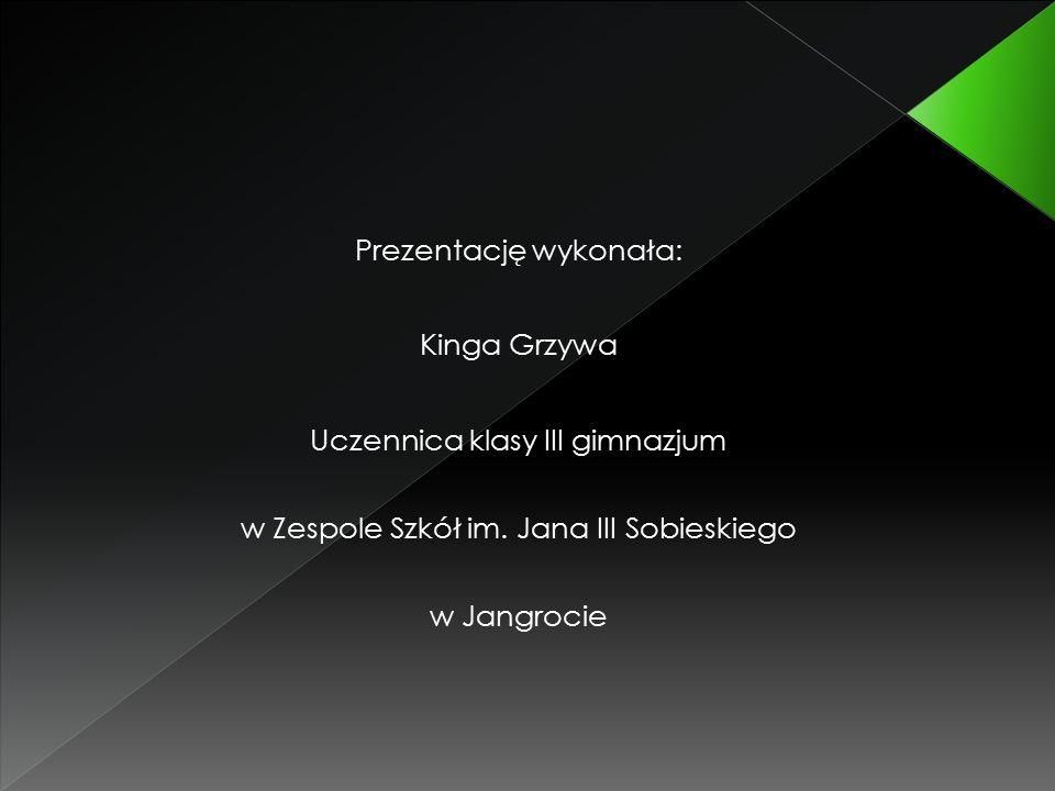 Prezentację wykonała: Kinga Grzywa Uczennica klasy III gimnazjum w Zespole Szkół im.
